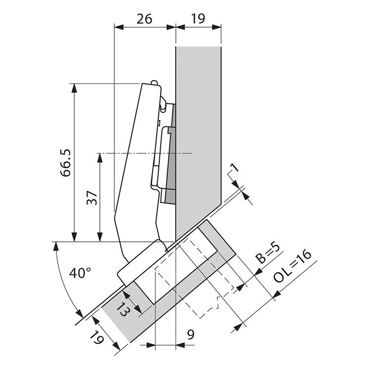 Blum 79A9498BT 95 Degree CLIP Top Hinge, Self-Close, +45 Degree III Diagonal, Inserta :: Image 180