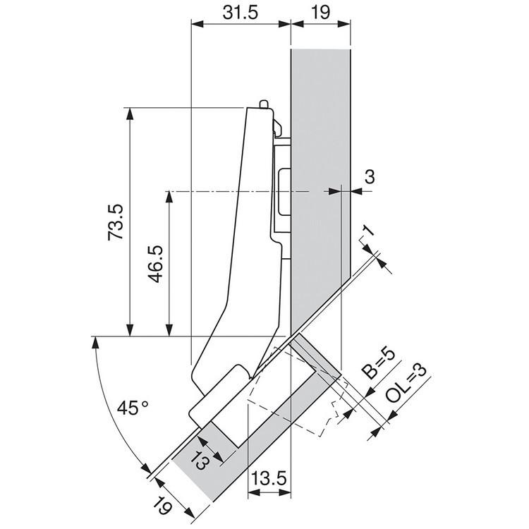 Blum 79T5590B +45 II 110 Degree CLIP Top Hinge, Self-Close, +45 Degree Diagonal, Full Overlay, Inserta :: Image 230