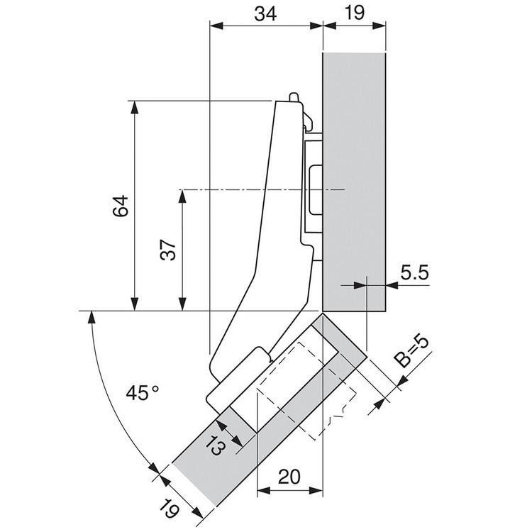 Blum 79B9698 95 Degree CLIP Top BLUMOTION Hinge, Soft-Close, +45 Diagonal, Inserta :: Image 70