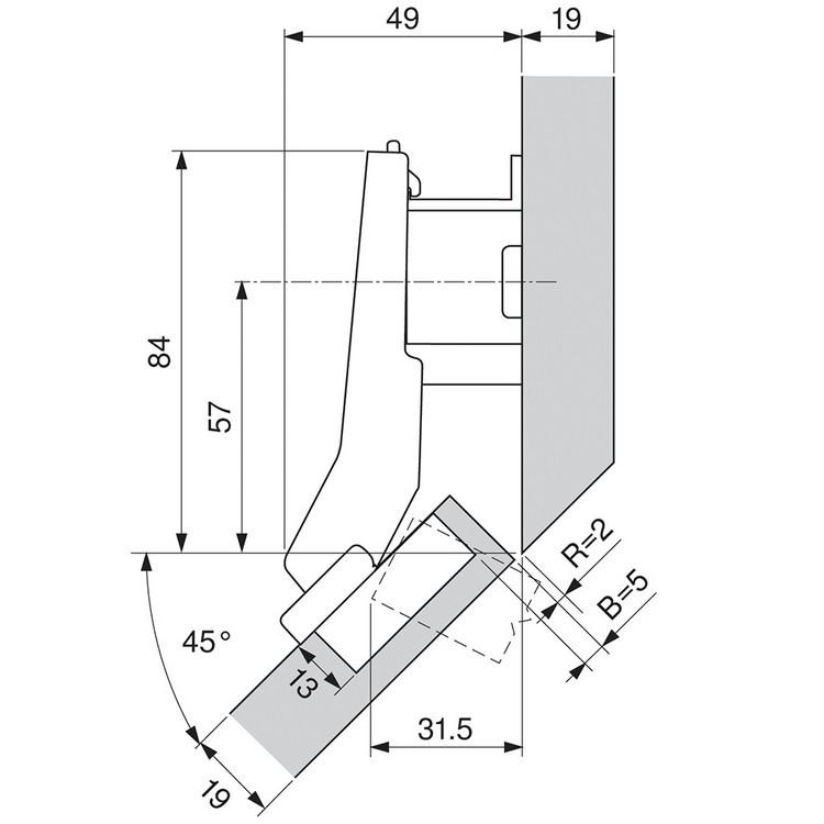 Blum 79T5590B +45 II 110 Degree CLIP Top Hinge, Self-Close, +45 Degree Diagonal, Full Overlay, Inserta :: Image 220