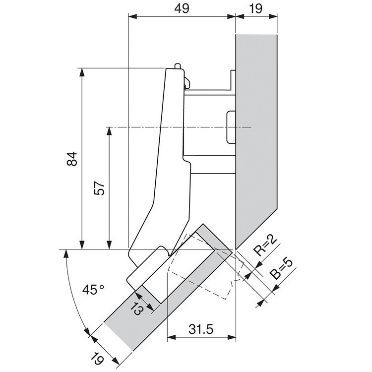 Blum 79B3598 110 Degree CLIP Top BLUMOTION Hinge, Soft-Close, +45 Degree Diagonal, Inserta :: Image 40