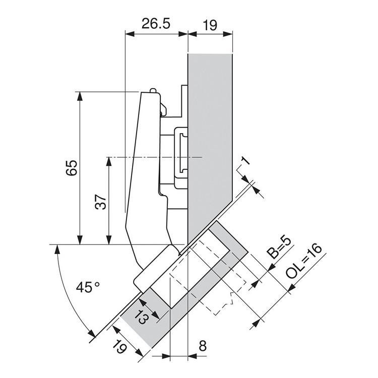 Blum 79A9498BT 95 Degree CLIP Top Hinge, Self-Close, +45 Degree III Diagonal, Inserta :: Image 170