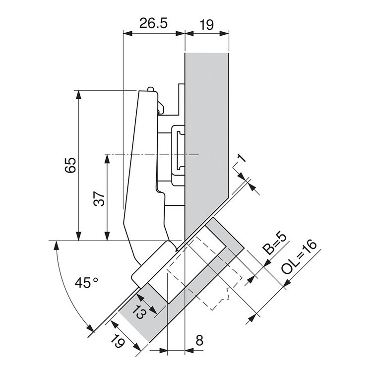 Blum 79A9498BT 95 Degree CLIP Top Hinge, Self-Close, +45 Degree III Diagonal, Inserta :: Image 80