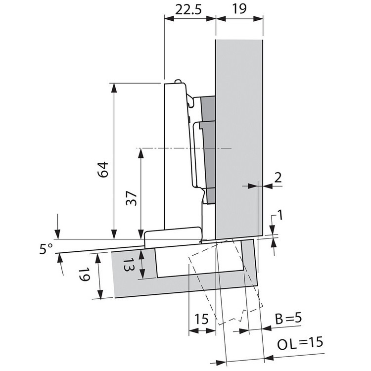 Blum 71T9590B 95 Degree CLIP Top Hinge, Self-Close, Full Overlay, Inserta :: Image 10
