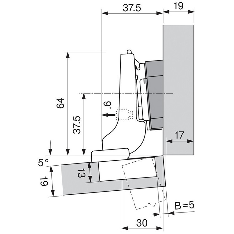 Blum 71T9690B 95 Degree CLIP Top Hinge, Self-Close, Half Overlay, Inserta :: Image 300