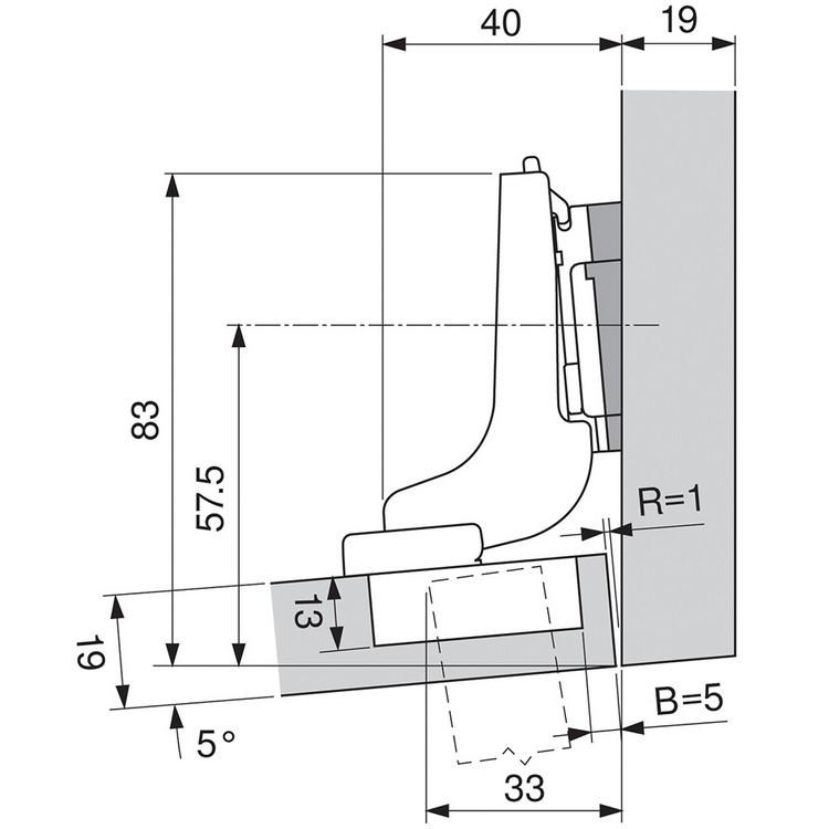Blum 71T9790B 95 Degree CLIP Top Hinge, Self-Close, Inset, Inserta :: Image 110