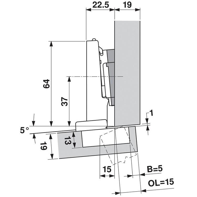 Blum 71T9590B 95 Degree CLIP Top Hinge, Self-Close, Full Overlay, Inserta :: Image 120