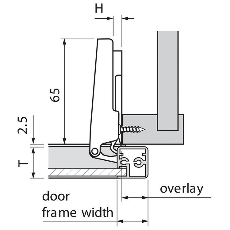 Blum 71B950A 95 Degree CLIP Top BLUMOTION Narrow Aluminum Door Hinge, Soft-Close, Full Overlay, Screw-on :: Image 120