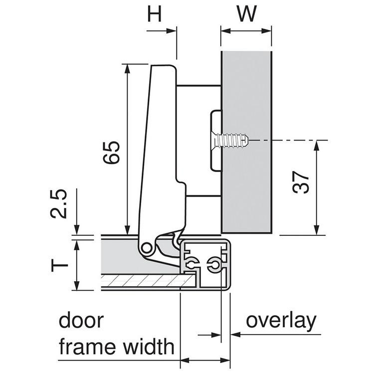 Blum 71B950A 95 Degree CLIP Top BLUMOTION Narrow Aluminum Door Hinge, Soft-Close, Full Overlay, Screw-on :: Image 150