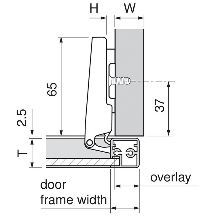 Blum 71B950A 95 Degree CLIP Top BLUMOTION Narrow Aluminum Door Hinge, Soft-Close, Full Overlay, Screw-on :: Image 140