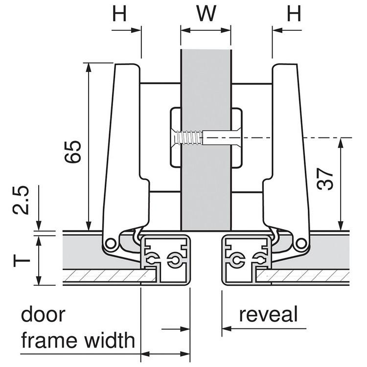 Blum 71B950A 95 Degree CLIP Top BLUMOTION Narrow Aluminum Door Hinge, Soft-Close, Full Overlay, Screw-on :: Image 130