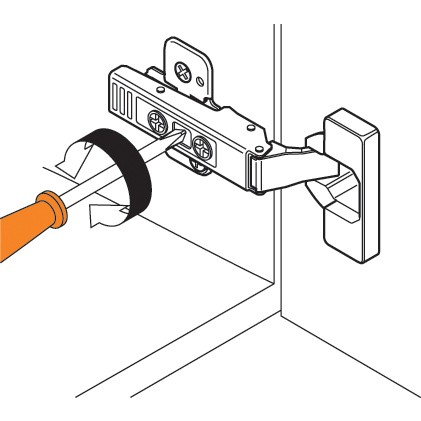 Blum 71T9650 95 Degree CLIP Top Hinge for Thick Door, Self-Close, Half Overlay, Screw-on :: Image 300