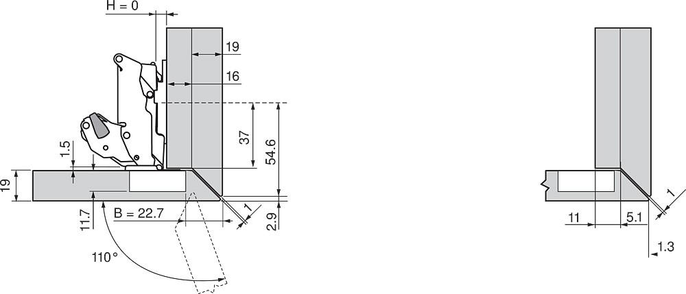 Blum 70T7503N 110 Degree Restriction Clip, Dust Grey :: Image 30