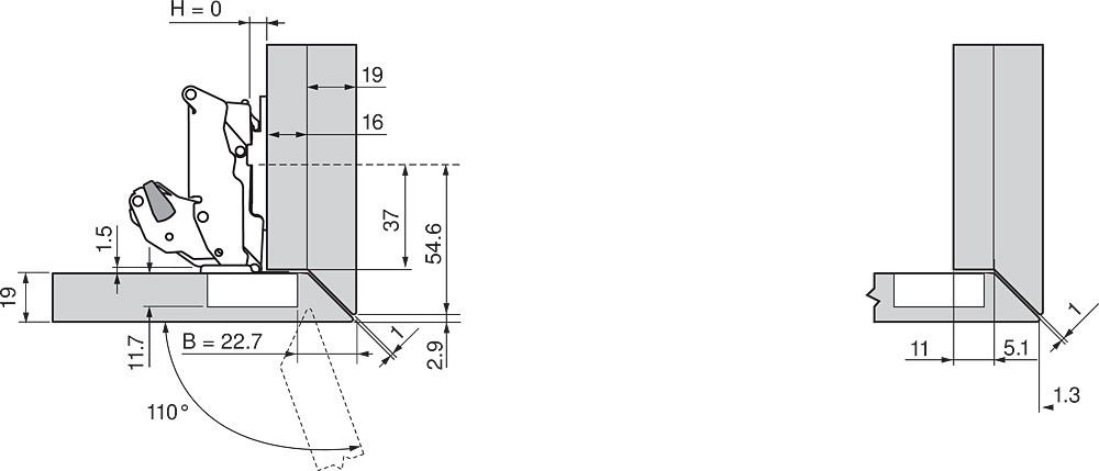 Blum 70T7503N 110 Degree Restriction Clip, Dust Grey :: Image 90