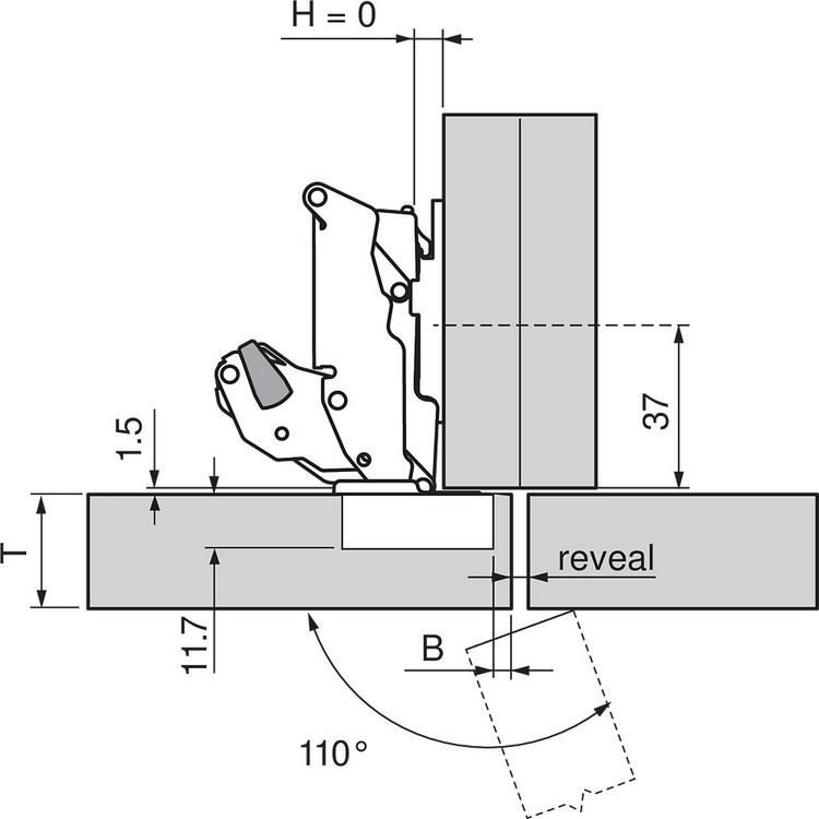 Blum 70T7503N 110 Degree Restriction Clip, Dust Grey :: Image 100