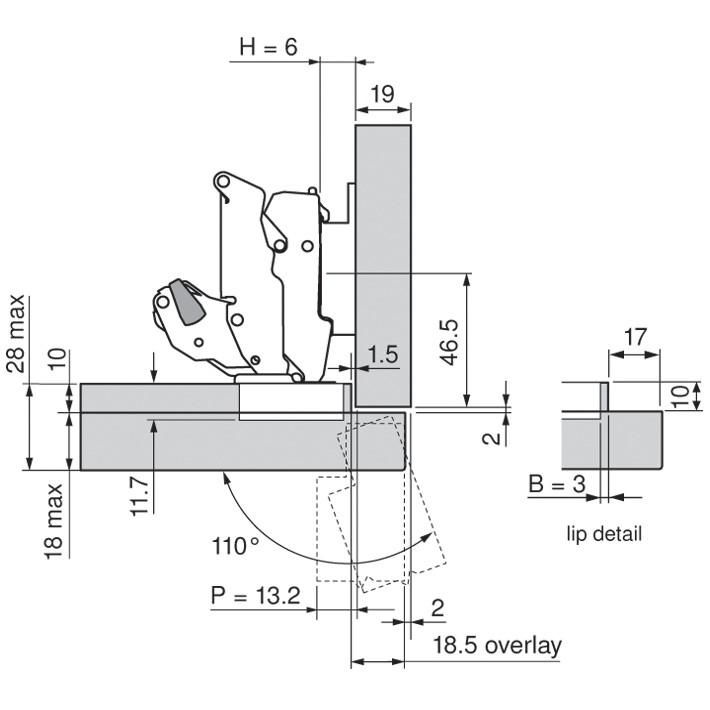 Blum 70T7503N 110 Degree Restriction Clip, Dust Grey :: Image 120