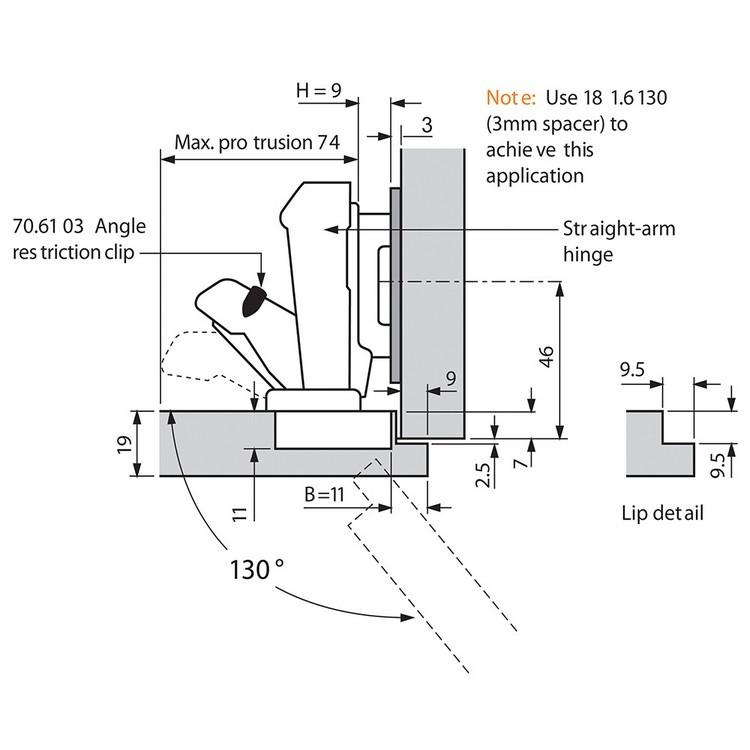 Blum 71T6650 170 Degree CLIP Top Hinge, Self-Close, Half Overlay, Screw-on :: Image 140