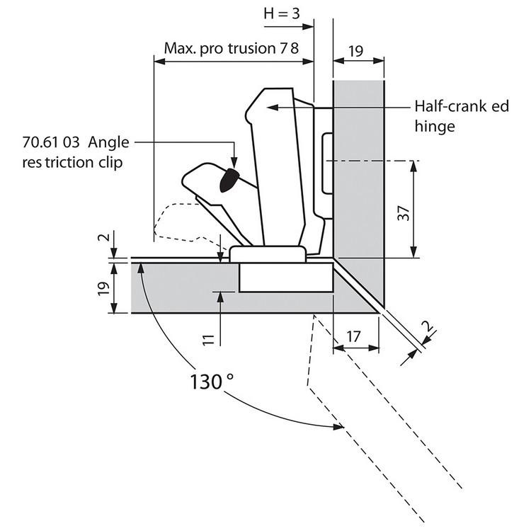 Blum 71T6680 170 Degree CLIP Top Hinge, Self-Close, Half Overlay, Dowel :: Image 140