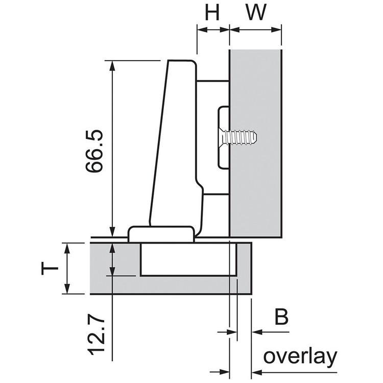 Blum 73T5580 120 Degree Plus CLIP Top Hinge, Self-Close, Full Overlay, Dowel :: Image 140