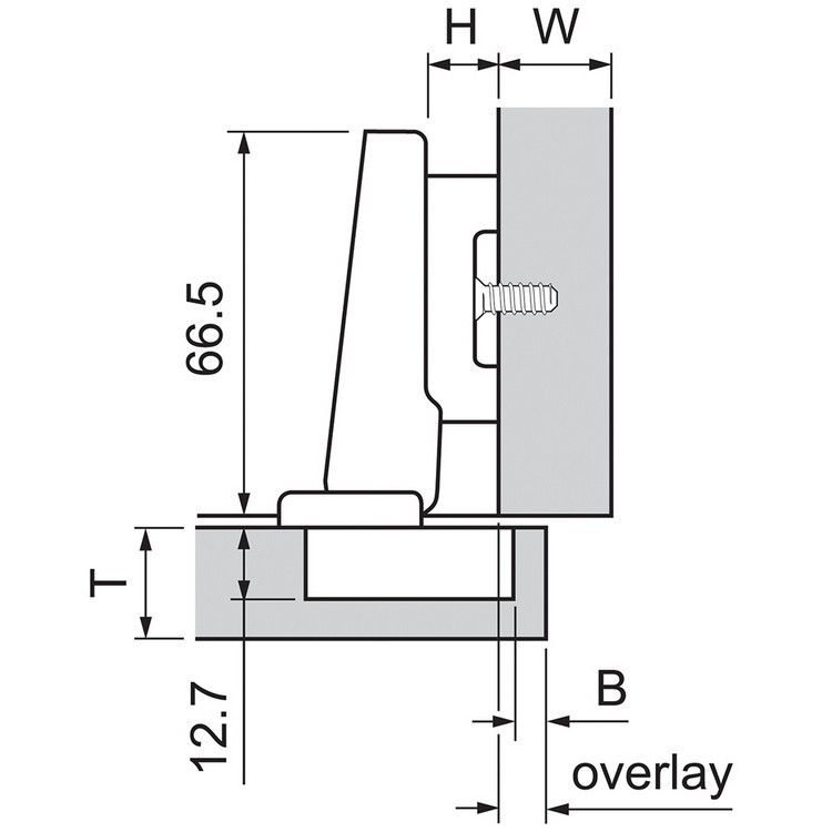 Blum 73T5590B 120 Degree Plus CLIP Top Hinge, Self-Close, Full Overlay, Inserta :: Image 140