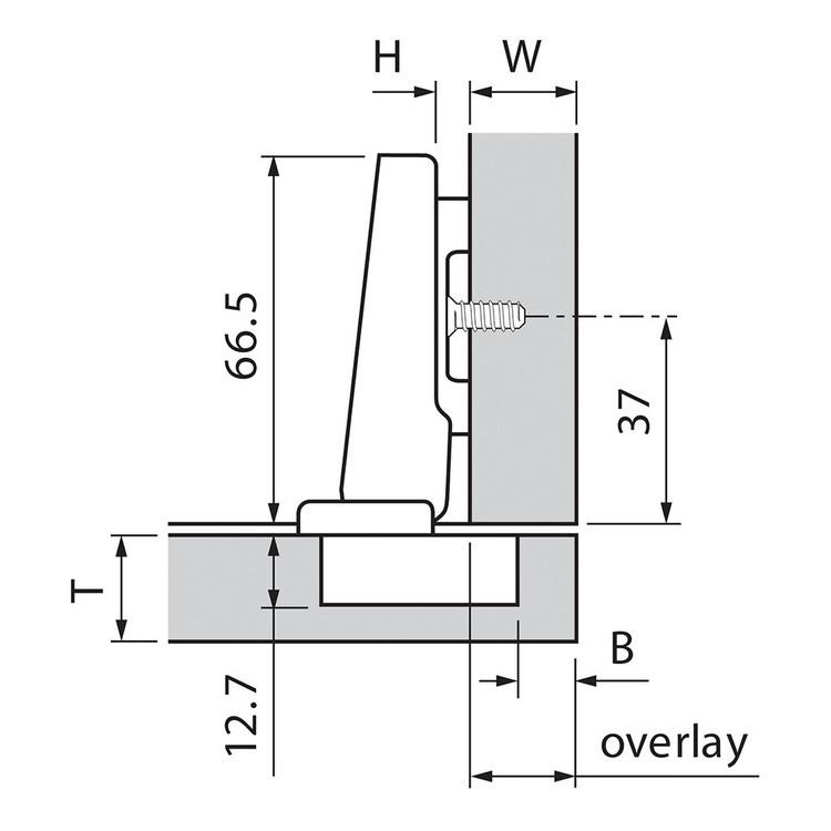 Blum 73T5580 120 Degree Plus CLIP Top Hinge, Self-Close, Full Overlay, Dowel :: Image 20