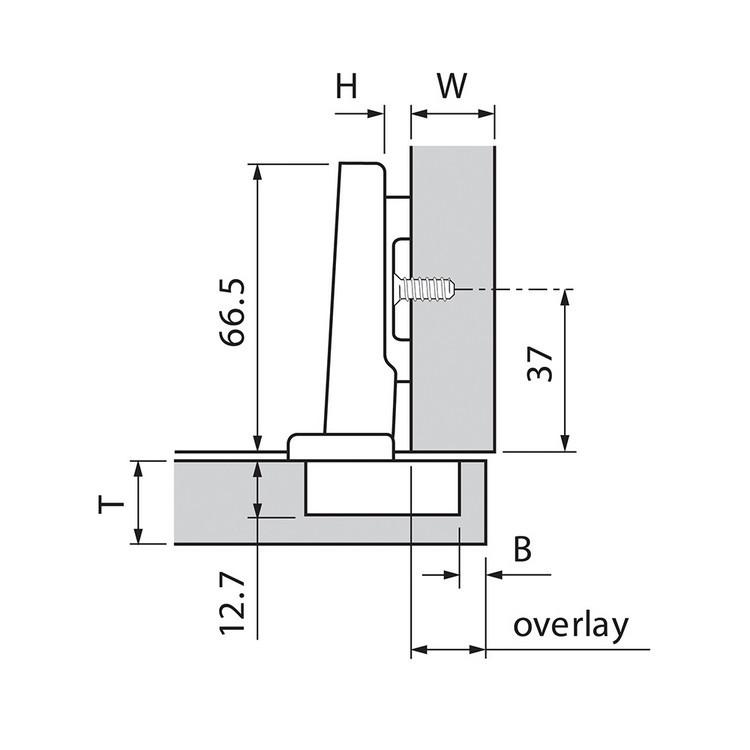 Blum 71T5550 120 Degree CLIP Top Hinge, Self-Close, Full Overlay, Screw-on :: Image 20