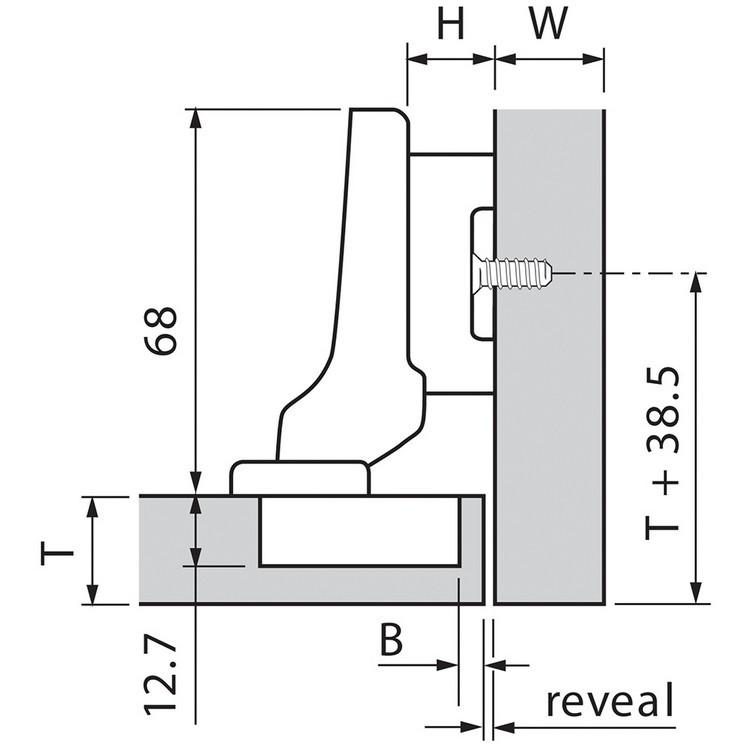 Blum 71T5690B 120 Degree CLIP Top Hinge, Self-Close, Half Overlay, Inserta :: Image 130