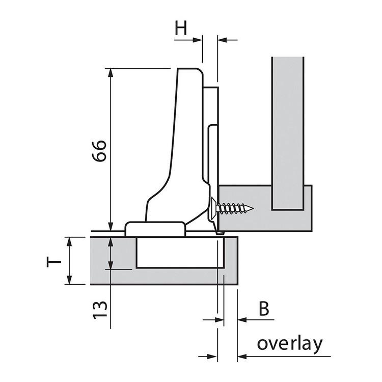 Blum 70T9650.TL 95 Degree CLIP Top Hinge for Thick Door, Free Swing, Half Overlay, Screw-on :: Image 70