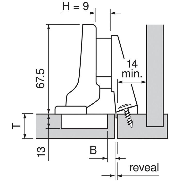 Blum 71T9780 95 Degree CLIP Top Hinge for Thick Door, Self-Close, Inset, Dowel :: Image 60
