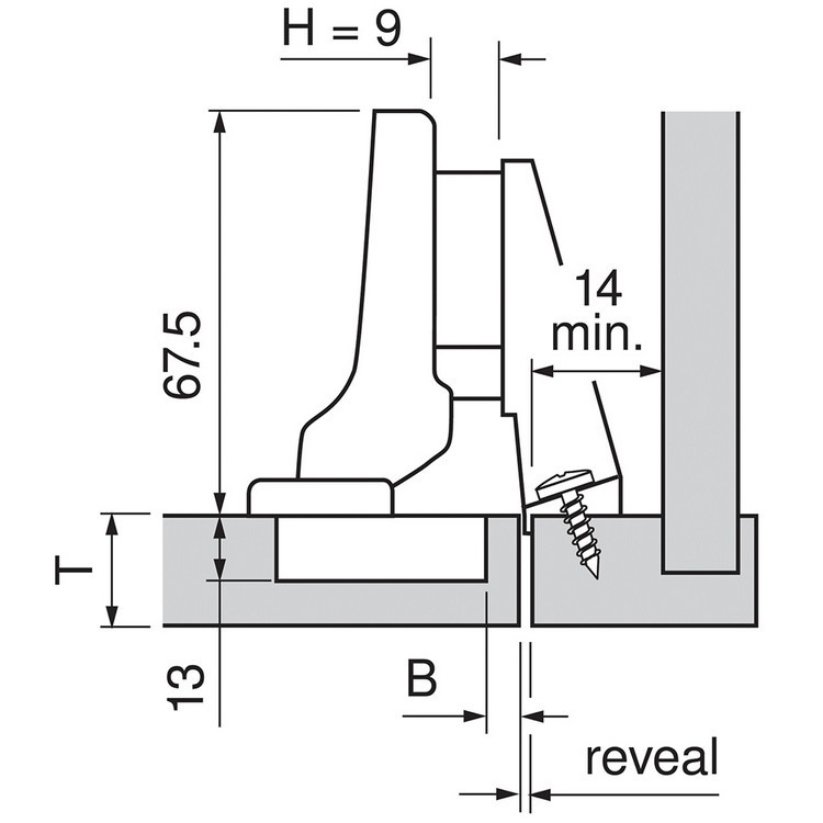Blum 71T9750 95 Degree CLIP Top Hinge for Thick Door, Self-Close, Inset, Screw-on :: Image 250