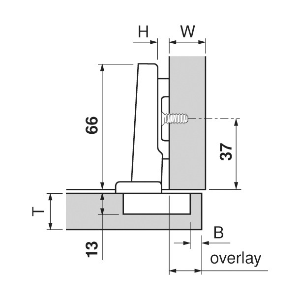 Blum 71T9550 95 Degree Clip Top Hinge for Thick Door, Self-Close, Full Overlay, Screw-on :: Image 80
