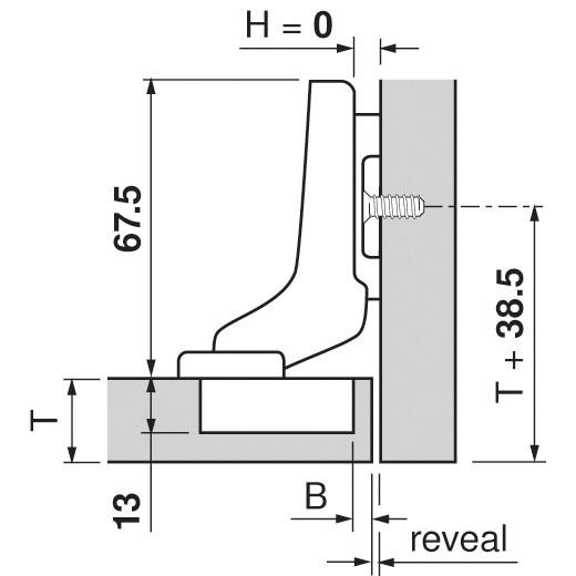 Blum 71T9780 95 Degree CLIP Top Hinge for Thick Door, Self-Close, Inset, Dowel :: Image 180