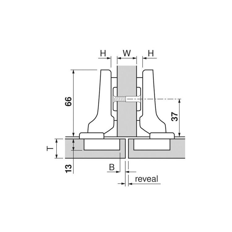 Blum 70T9650.TL 95 Degree CLIP Top Hinge for Thick Door, Free Swing, Half Overlay, Screw-on :: Image 20