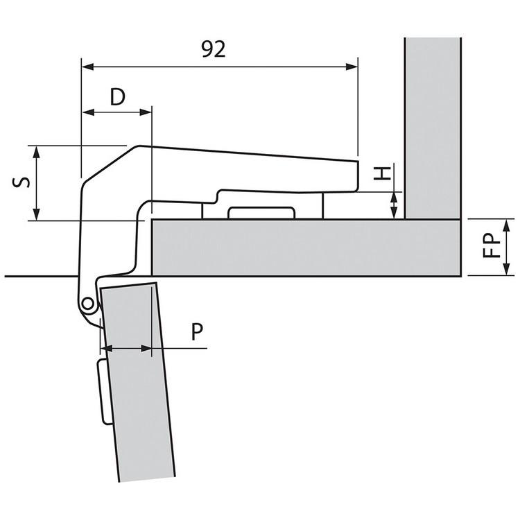 Blum 79B9980 95 Degree CLIP Top BLUMOTION Blind Corner Hinge, Soft-Close, Full Overlay, Dowel :: Image 100