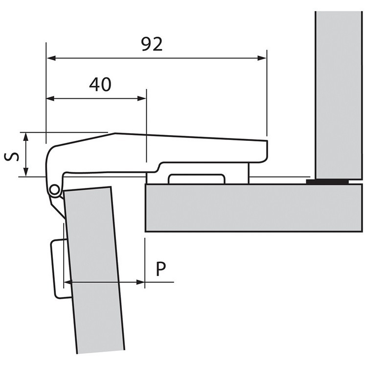 Blum 79T9590B 95 Degree CLIP Top Blind Corner Hinge, Self-Close, Inset, Inserta :: Image 100