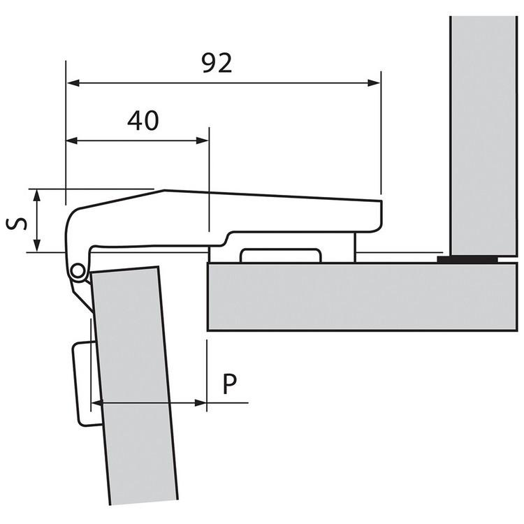 Blum 79T9580 95 Degree CLIP Top Blind Corner Hinge, Self-Close, Inset, Dowel :: Image 240