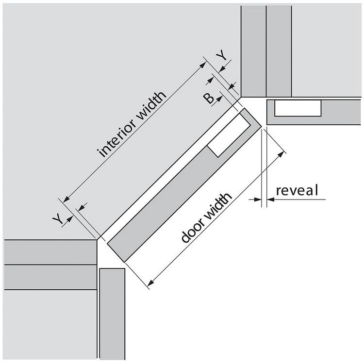 Blum 79T5580 +45 II 110 Degree CLIP Top Hinge, Self-Close, +45 Degree Diagonal, Full Overlay, Dowel :: Image 150