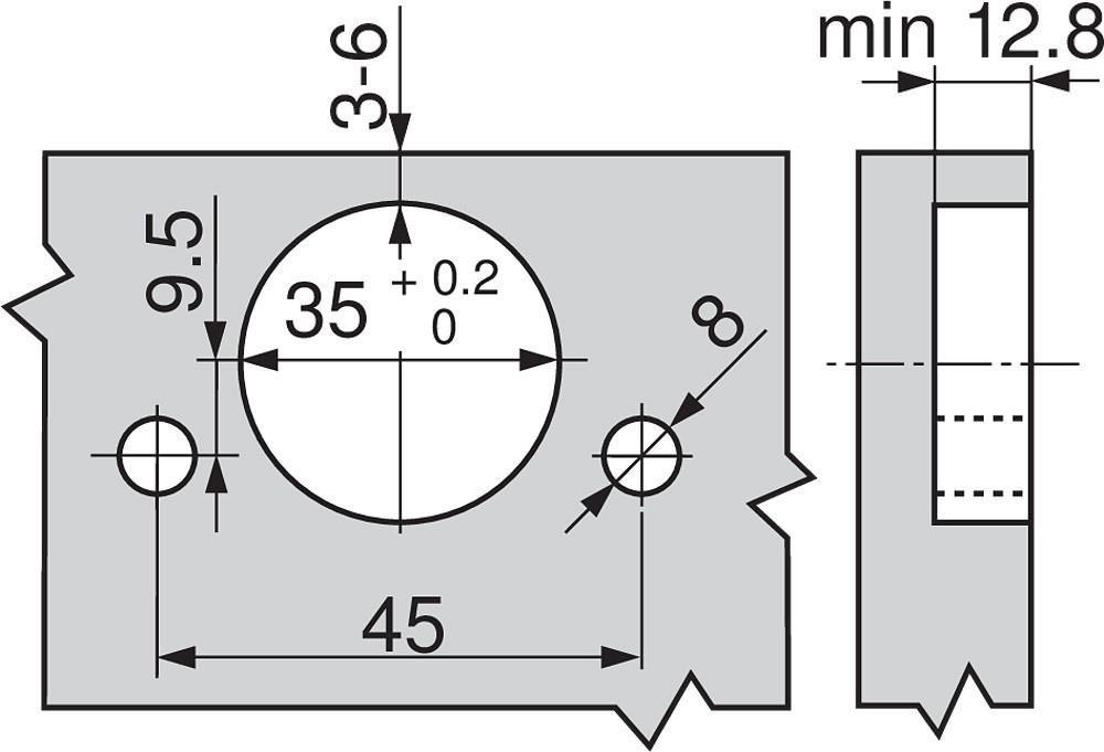 Blum 79T5590B +45 II 110 Degree CLIP Top Hinge, Self-Close, +45 Degree Diagonal, Full Overlay, Inserta :: Image 50