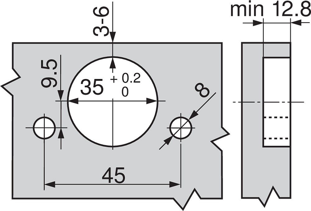 Blum 79T5590B +45 II 110 Degree CLIP Top Hinge, Self-Close, +45 Degree Diagonal, Full Overlay, Inserta :: Image 210