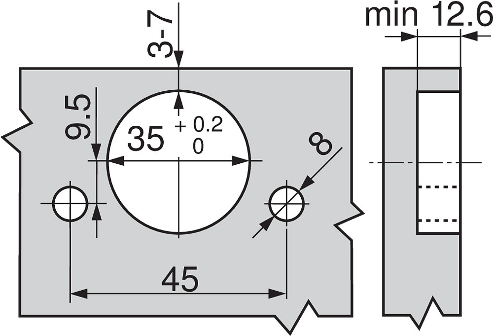 Blum 79A9498BT 95 Degree CLIP Top Hinge, Self-Close, +45 Degree III Diagonal, Inserta :: Image 110