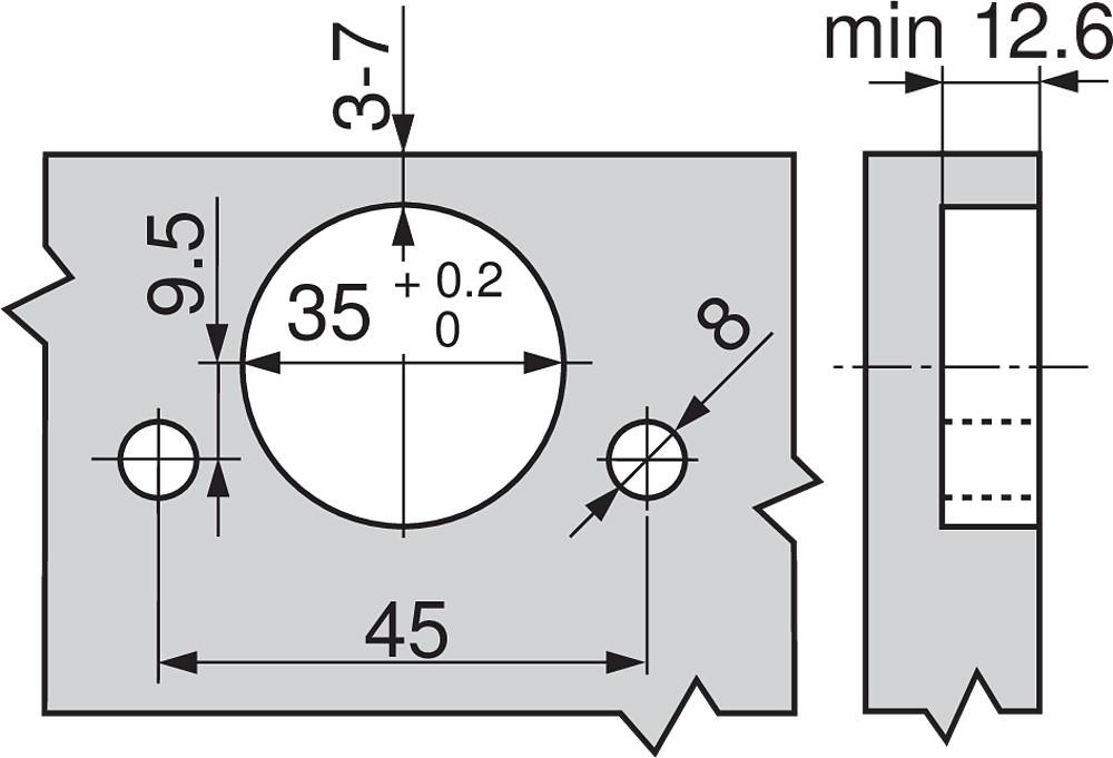 Blum 79A9494BT 95 Degree CLIP Top Hinge, Self-Close, +15 Degree Diagonal, Inserta :: Image 230