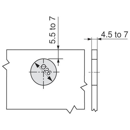 Blum 75T4200 94 Degree CLIP Top Glass Door Hinge, Self-Close, Half Overlay, Screw-on :: Image 100