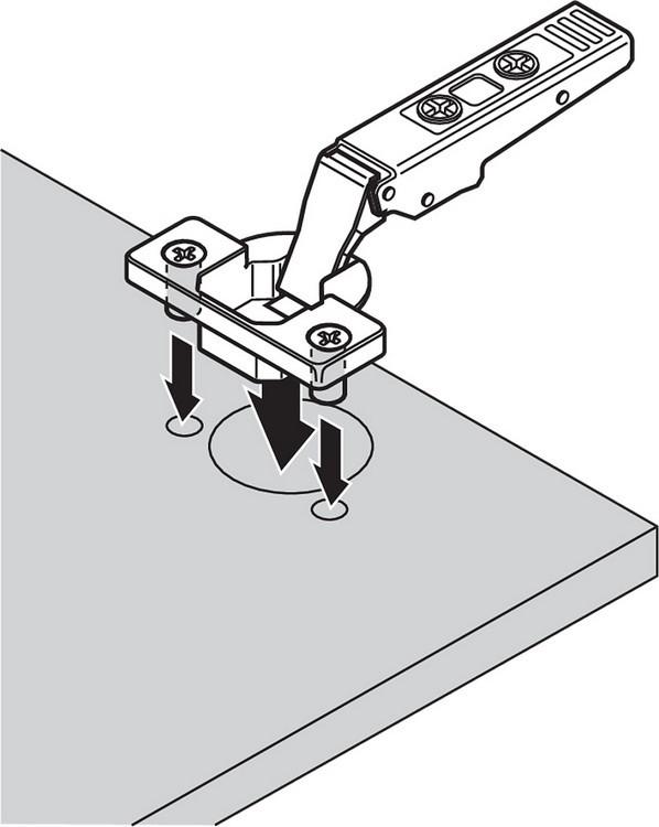 Blum 75M1580 107 Degree CLIP Hinge, Self-Close, Full Overlay, Dowel :: Image 90