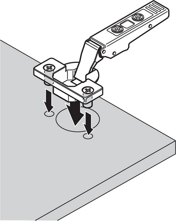 Blum 71T9680 95 Degree CLIP Top Hinge for Thick Door, Self-Close, Half Overlay, Dowel :: Image 210