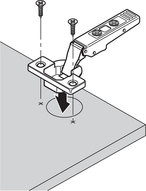 Blum 71T0650 94 Degree CLIP Top Mini Hinge, Self-Close, Half Overlay, Screw-on :: Image 130