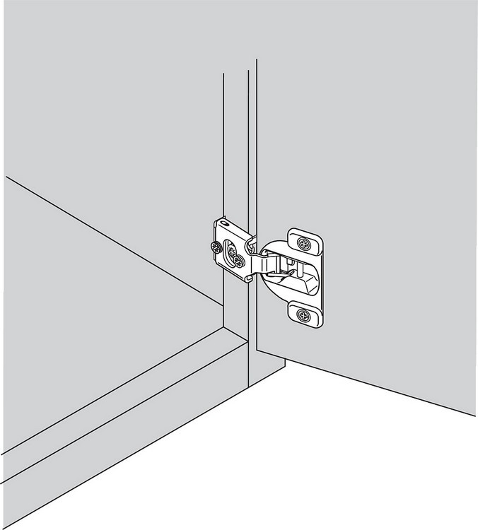 Blum 38N355C.08 Compact 38N Hinge, Self-Close, 107 Degree, 1/2 Overlay, Screw-on :: Image 10