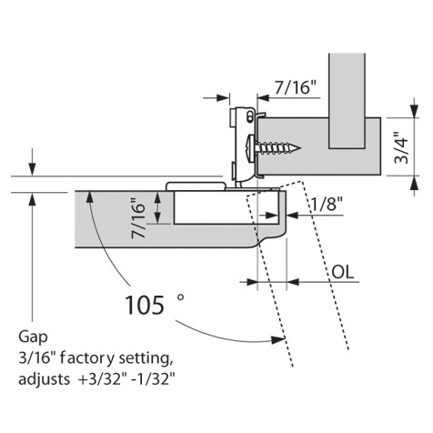 Blum 38N355C.10 Compact 38N Hinge, Self-Close, 107 Degree, 5/8 Overlay, Screw-on :: Image 20