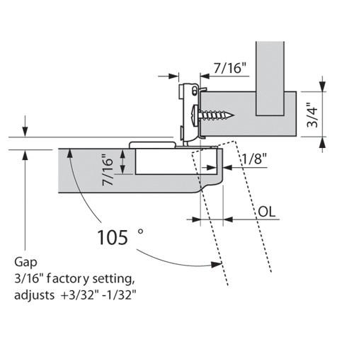 Blum 38N358C.10 Compact 38N Face Frame Hinge, Self-Close, 107 Degree, 5/8 Overlay, Dowel :: Image 80