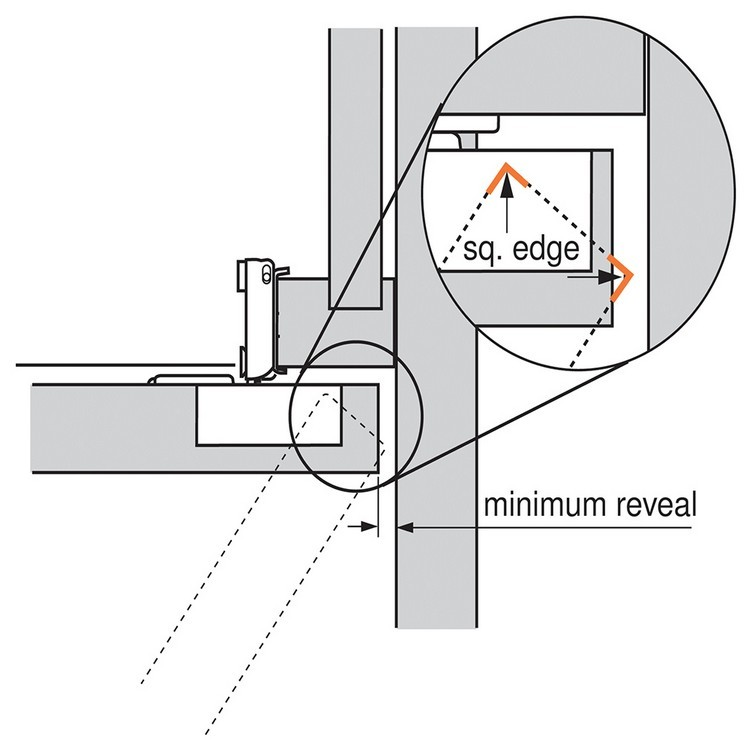 Blum 38N358C.06 Compact 38N Face Frame Hinge, Self-Close, 107 Degree, 3/8 Overlay, Dowel :: Image 40