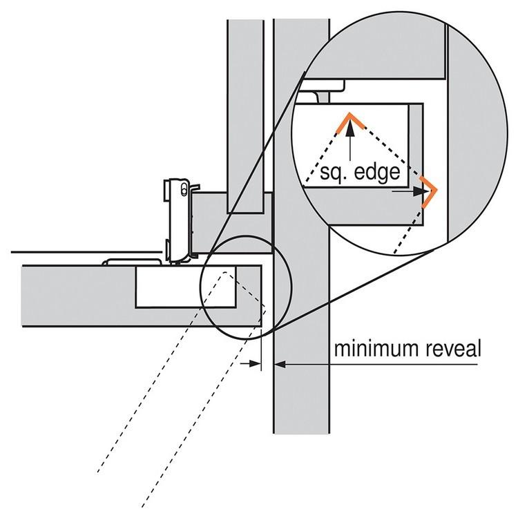 Blum 38N355C.10 Compact 38N Hinge, Self-Close, 107 Degree, 5/8 Overlay, Screw-on :: Image 100